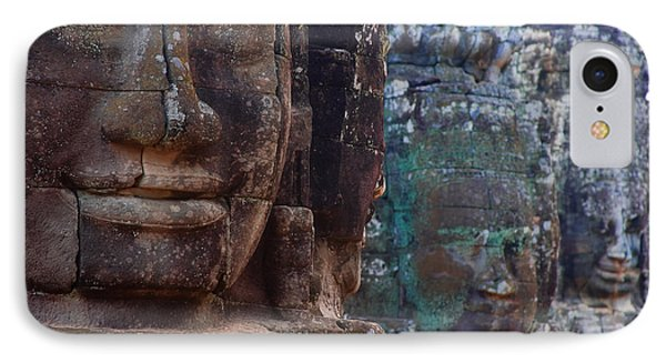 Stone Heads At Bayon Temple Phone Case by Carson Ganci