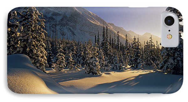 Sun Setting Behind Trees And Mountain Phone Case by Mike Grandmailson