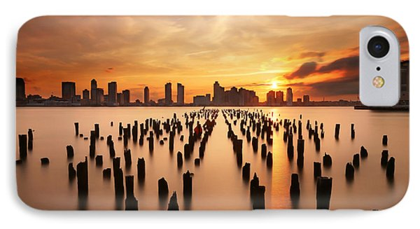 Sunset Over The Hudson River IPhone Case by Larry Marshall