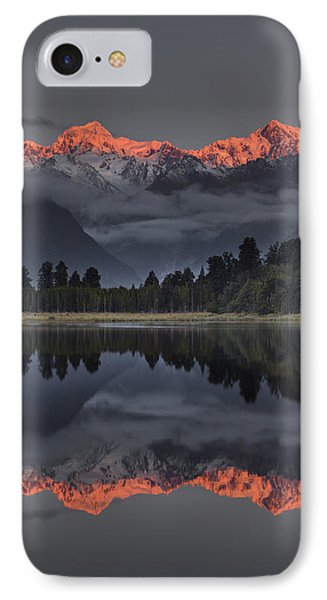 Sunset Reflection Of Lake Matheson Phone Case by Colin Monteath