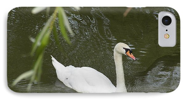 Swan Enjoying A Swim Phone Case by Corinne Elizabeth Cowherd