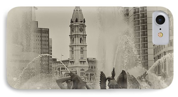 Swann Memorial Fountain In Sepia Phone Case by Bill Cannon