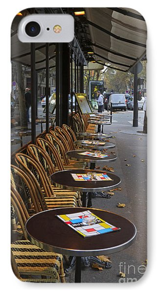 Tables Outside A Paris Bistro On An Autumn Day Phone Case by Louise Heusinkveld