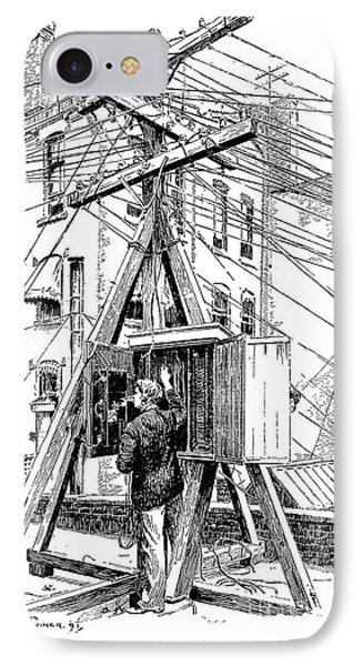 Telephone Lines, 1891 IPhone Case by Granger
