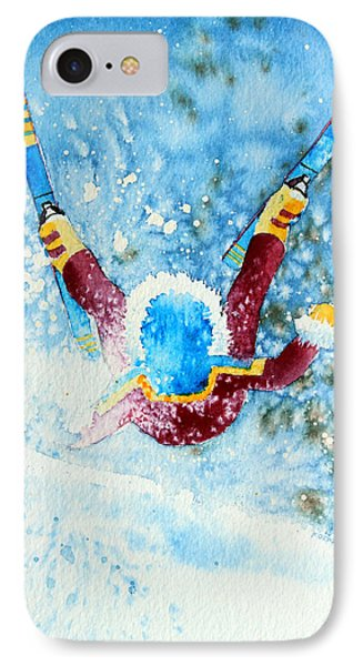 The Aerial Skier - 14 Phone Case by Hanne Lore Koehler