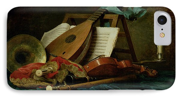 The Attributes Of Music IPhone Case by Anne Vallaer-Coster