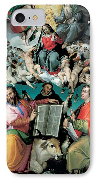 The Coronation Of The Virgin With Saints Luke Dominic And John The Evangelist IPhone Case by Bartolomeo Passarotti