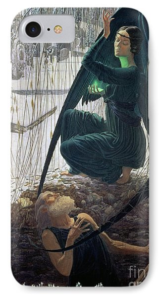 The Death And The Gravedigger Phone Case by Carlos Schwabe