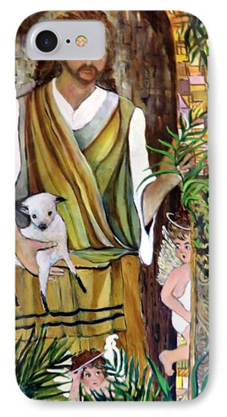 The Good Shephard At The Door Phone Case by Mindy Newman