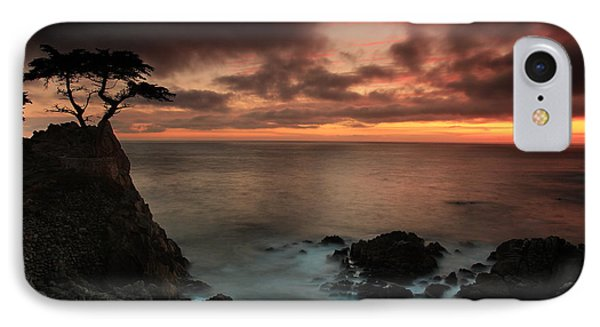 The Lone Cypress Observes A Pebble Beach Sunset Phone Case by Dave Storym