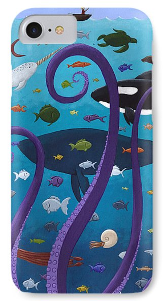 The Old Man And The Sea Monster IPhone Case by Christy Beckwith