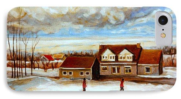 The Schoolhouse Winter Morning Quebec Rural Landscape Phone Case by Carole Spandau
