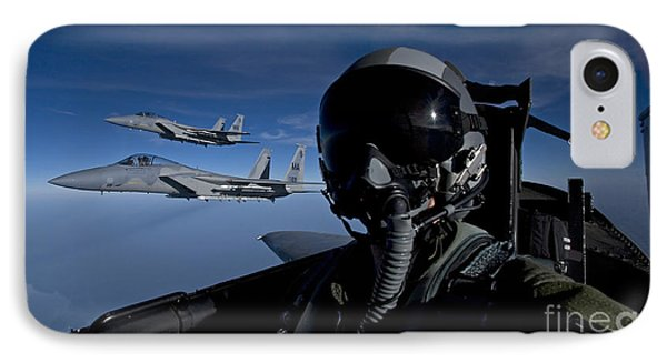Three F-15 Eagles Fly High Phone Case by HIGH-G Productions