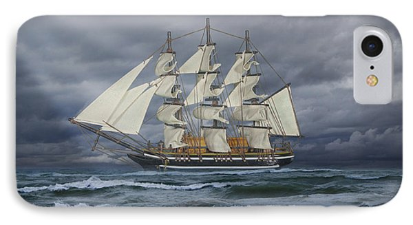 Three Masted Ship IPhone Case by Randall Nyhof