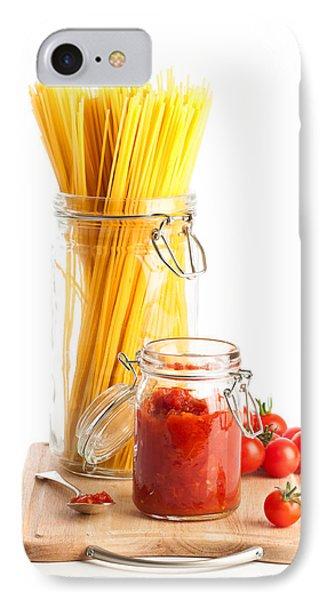 Tomatoes Sauce And  Spaghetti Pasta  IPhone Case by Amanda Elwell