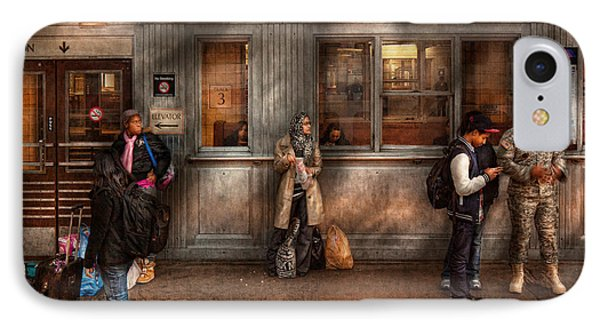 Train - Station - Waiting For The Next Train Phone Case by Mike Savad