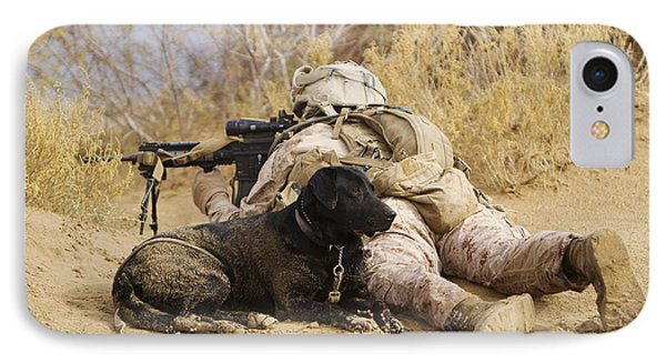 U.s. Marine And A Military Working Dog Phone Case by Stocktrek Images