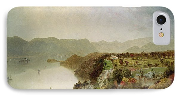View Of Cozzen's Hotel Near West Point Ny IPhone Case by John Frederick Kensett