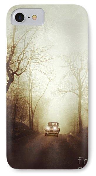 Vintage Car On Foggy Rural Road Phone Case by Jill Battaglia