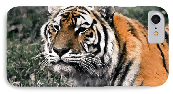 Watchful Bengal Tiger - Brush Stroke Phone Case by Darcy Michaelchuk