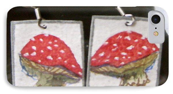 Watercolor Earrings Amanita Phone Case by Beverley Harper Tinsley