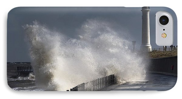 Waves Crashing By Lighthouse At Phone Case by John Short