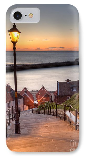 Whitby Steps - Orange Glow IPhone Case by Martin Williams