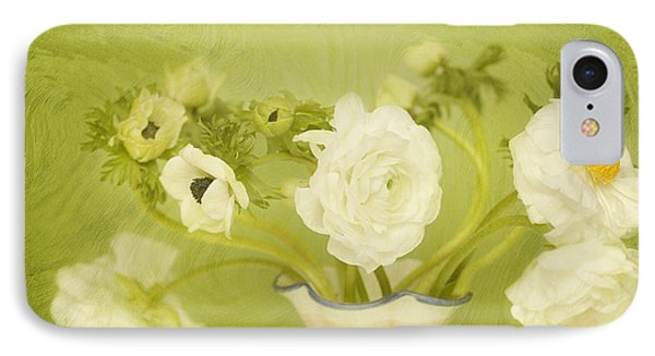 White Anemonies And Ranunculus On Green Phone Case by Susan Gary