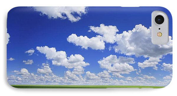 White Clouds In The Sky And Green Meadow Phone Case by Don Hammond