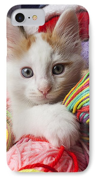 White Kitten Close Up Phone Case by Garry Gay