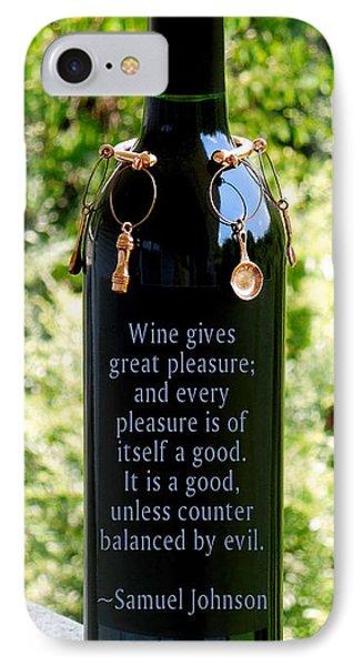 Wine Gives Great Pleasure Phone Case by Renee Trenholm
