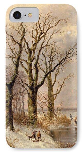 Winter Landscape With Faggot Gatherers Conversing On A Frozen Lake IPhone Case by Josephus Gerardus Hans