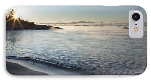Winter Mist On Lake Superior At Sunrise Phone Case by Susan Dykstra