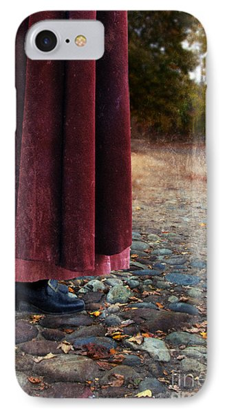 Woman In Vintage Clothing On Cobbled Street Phone Case by Jill Battaglia
