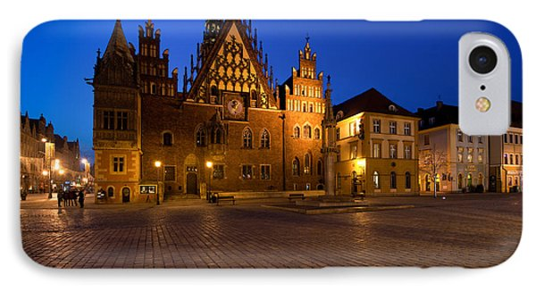 Wroclaw Town Hall At Night IPhone Case by Sebastian Musial