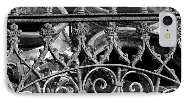 Wrought Iron Gate And Pots Black And White Phone Case by Kathleen K Parker