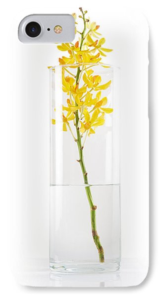 Yellow Orchid In Vase Phone Case by Atiketta Sangasaeng