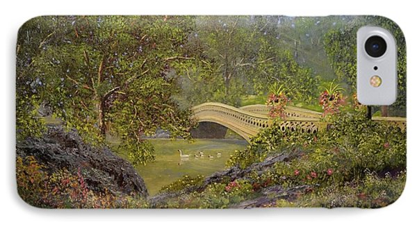 Bow Bridge Central Park Phone Case by Michael Mrozik