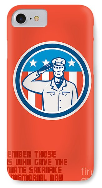 Memorial Day Greeting Card American Soldier Salute Circle IPhone Case by Aloysius Patrimonio