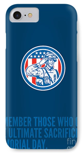 Memorial Day Greeting Card Soldier Military Salute Circle  IPhone Case by Aloysius Patrimonio