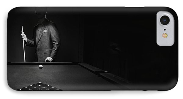 Mystery Pool Player Behind Rack Of IPhone Case by Richard Wear
