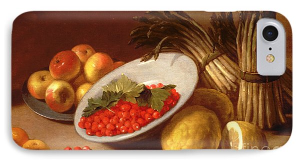 Still Life Of Raspberries Lemons And Asparagus  IPhone 7 Case by Italian School