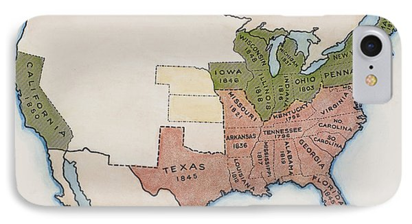 United States Map, 1854 Phone Case by Granger