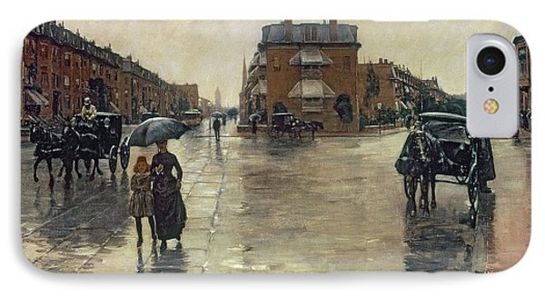 A Rainy Day In Boston IPhone Case by Childe Hassam