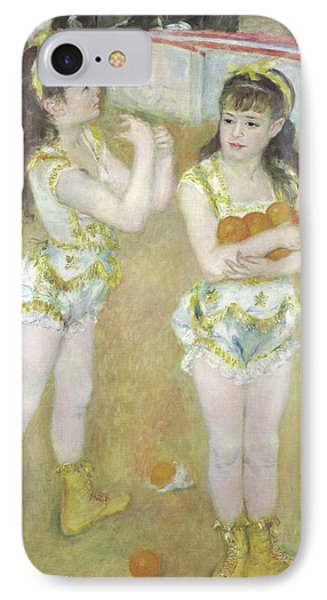 Acrobats At The Cirque Fernando, Francisca And Angelina Wartenberg IPhone Case by Pierre Auguste Renoir