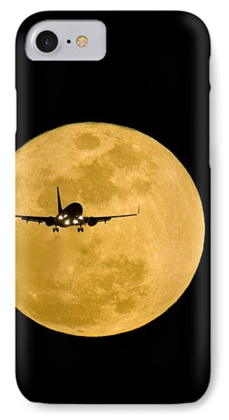 Aeroplane Silhouetted Against A Full Moon IPhone Case by David Nunuk