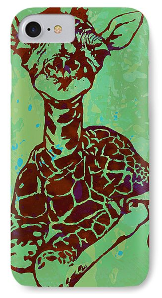 Baby Giraffe - Pop Modern Etching Art Poster IPhone Case by Kim Wang