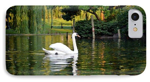 Boston Public Garden Swan Green Reflection IPhone Case by Toby McGuire