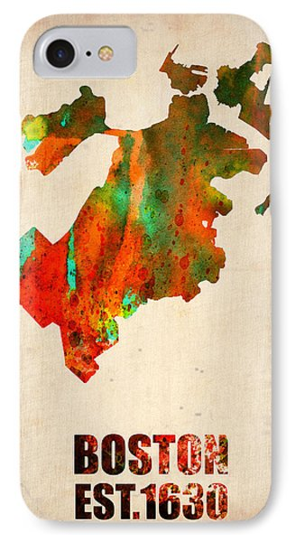 Boston Watercolor Map  IPhone Case by Naxart Studio