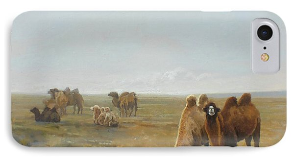 Camels Along The River IPhone Case by Chen Baoyi